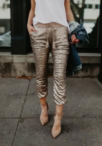 Golden Patchwork Sequin Pockets Drawstring High Waisted Nine's Pants