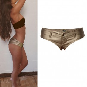 Golden Buttons Low-rise Fashion Short Pants