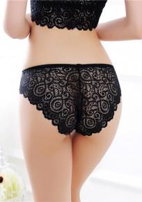 Black Patchwork Lace Elastic Waist Fashion Nylon Shorts