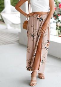 Pantalones largos corte floral elástico dulce caqui