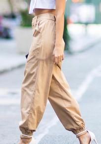 Pantalones largos bolsillos de cadena botón volar algodón de moda caqui