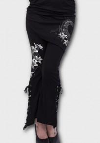 Black Floral Print Irregular Drawstring Zipper High Waisted Pants