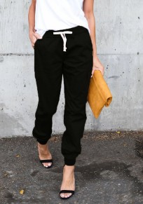 Black Plain Pockets Drawstring Waist Casual Long Pants