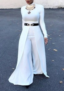 White Pleated High Waisted Office Worker Party Wide Leg Long Pants