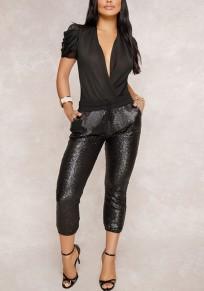 Harem pantalons en paillette avec poches coulisse à la taille décontracté femme noir