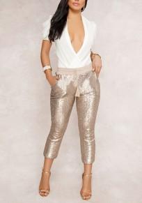 Harem pantalons en paillette avec poches coulisse à la taille décontracté femme dorée