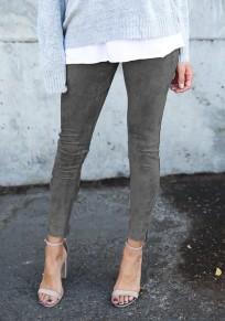 Pantalones largos lisos con cremallera elásticos casualeses grises