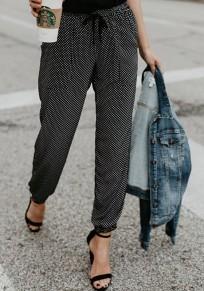 Pantalones lunares bolsillos cordón cintura moda 7/8 negro