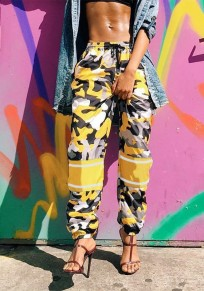Yellow Camouflage Pattern Drawstring Pockets High Waisted Workout Camo Casual Long Pants