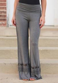 Pantalones largos con cordones drapeados elásticos palazzo de pierna ancha gris oscuro