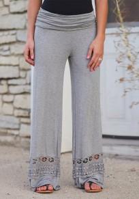 Pantalones largos con cordones drapeados elásticos palazzo de pierna ancha gris claro