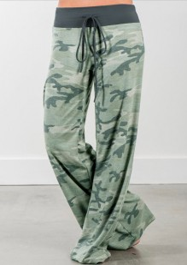 Pantalon longue impression taille haute taille haute décontracté pyjama camouflage vert