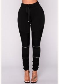 Pantalon longue uni volant à glissière cordon de serrage à la taille mode noir