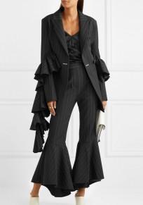 Pantalon longue poches plissées à rayures cul-de-sac plus taille cru noir