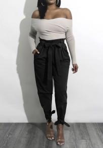 Pantalones largos lisos bolsillos cordón cintura casuales negro