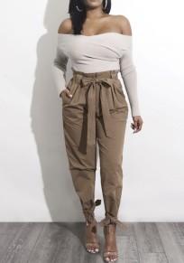Pantalones largos lisos bolsillos cordón cintura casuales caqui