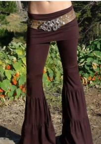 Pantalones largos mamá plisada de cintura alta saliendo de la llamarada de yoga café
