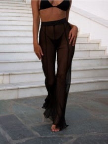 Black Ruffle High Waisted Clubwear Party Wide Flare Leg Long Pants