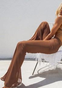 Pantalones largos adina pura cintura alta moda flare marrón