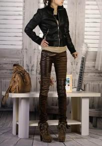 Brown Zipper Ruffle PU Leather Button Fly Fashion Long Pants