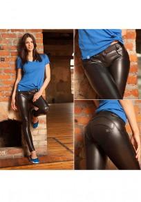 Pantalons longue en imitation cuir push up slim mode noir femme