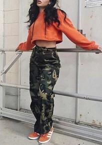 Pantalons longues camouflage avec poches style militaire mode décontracté femme kaki