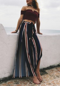 Dark Blue Striped Sashes Double Slit High Waisted Bohemian Beach Long Pants