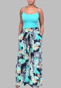 Black-Blue Floral Pockets Sashes Wide Leg Beach Pyjama Trousers Casual Long Pants