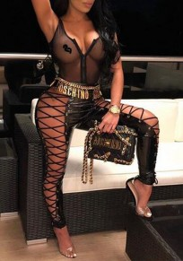 Black Cross Drawstring Elastic Waist PU Leather Lace-up High Waisted Clubwear Party Long Pants