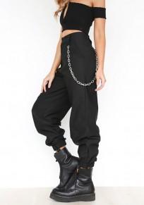Pantalones largos bolsillos con cadenas cordón cremallera de talle alto casuales negro