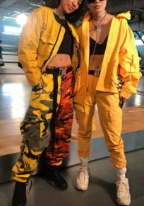 Pantalon longue imprimé boutons poches petit ami décontracté camouflage jaune