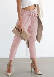 Pink Pockets Drawstring Waist High Waisted Casual Nine's Pants