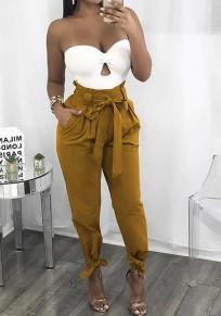 Gelbe Ebene Taschen Kordelzug Taille beiläufige lange Hosen