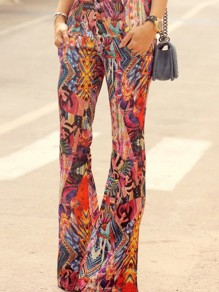 Pantalones estampado floral tribal de talle alto campana bohemia naranja