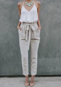 Grey Plain Pockets Drawstring Waist Casual Nine's Pants