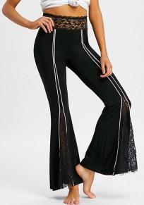 Pantalones largos encaje de rayas de cintura alta fiesta elegante pierna ancha negro