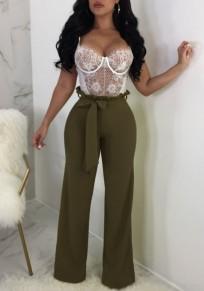 Pantalon longue ceintures taille haute élégant taille haute jambe vert armée