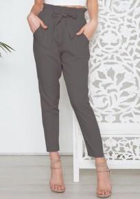 Dark Grey Pockets Ruffle Drawstring Waist Fashion Nine's Pants