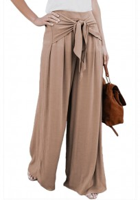 Khaki Sashes Draped High Waisted Office Worker/Daily Wide Leg Long Pants