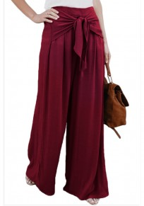 Burgundy Sashes Draped High Waisted Office Worker/Daily Wide Leg Long Pants