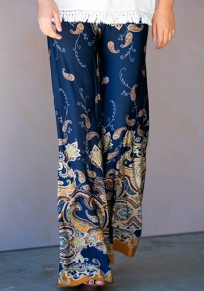 Blue Floral Print Elastic Waist Casual Long Pants