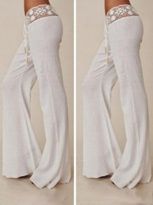 White Patchwork Lace Drawstring Waist Casual Long Pants