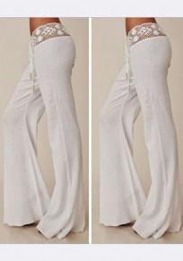 Pantalones largos encaje cordón cintura casuales blanco