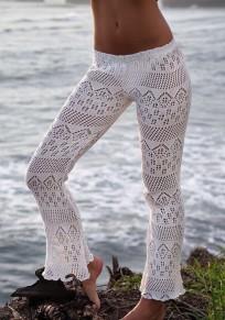 Pantalones largos recortar el fondo de campana bohemio de la cintura alta blanco