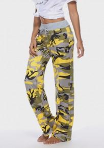 Gelb Camouflage Kordelzug Hohe Taille Beiläufige Oversize Lange Hosen Damen Jogginghose