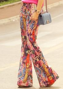 Pantalones largos bolsillos de impresión elásticos moda multicolor