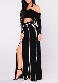 Pantalon longue rayé haute fente taille haute travailleur élégant élégant jambe large noir-blanc