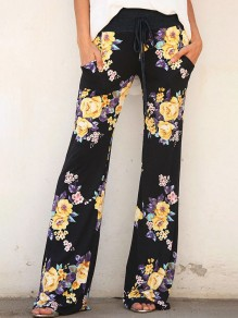 Black Floral Print Pockets Drawstring Waist Casual Long Pants