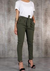 Green Plain Pockets Drawstring Waist Fashion Long Pants