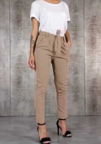Khaki Taschen Mit Bindegürtel Schleife Beiläufige Damen Hose Paperbag Lang Hose Karottenhose